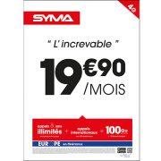 Affiche Forfait 19.90€ Syma Mobile – Mars 2018