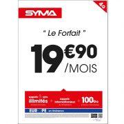 Affiche Forfait 19.90€ Syma Mobile – Février 2018