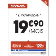 Affiche Forfait 19.90€ Syma Mobile – Avril 2018