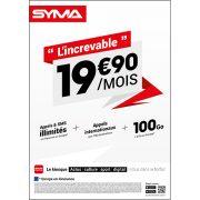 Affiche Forfait 19.90€ Syma Mobile – Juin 2018