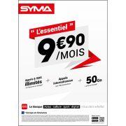 Affiche Forfait 9.90€ Syma Mobile – Juin 2018