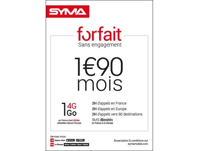Forfait 1,90€ octobre 2018