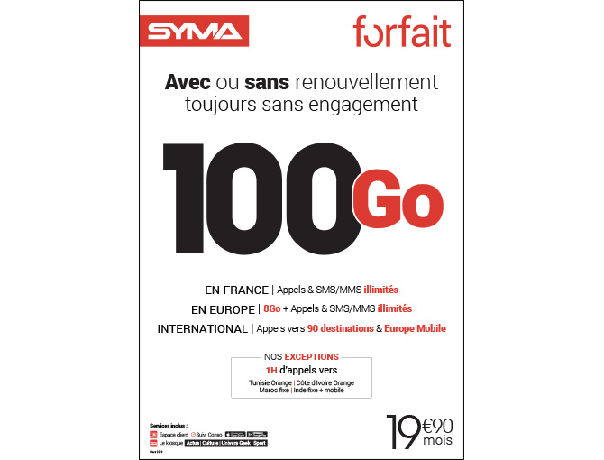 Forfait 19,90€ - Mars 2019