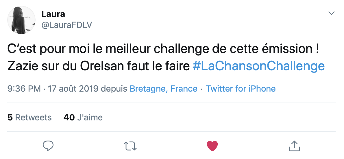 Chanson Challenge - La Chanson Challenge - Commentaire - Twitter
