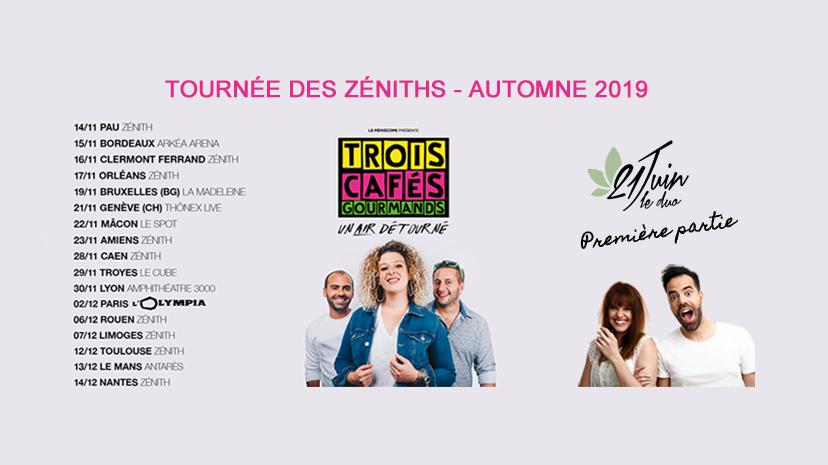 21 juin le duo - Trois cafés gourmands - tournée - Zéniths - concerts