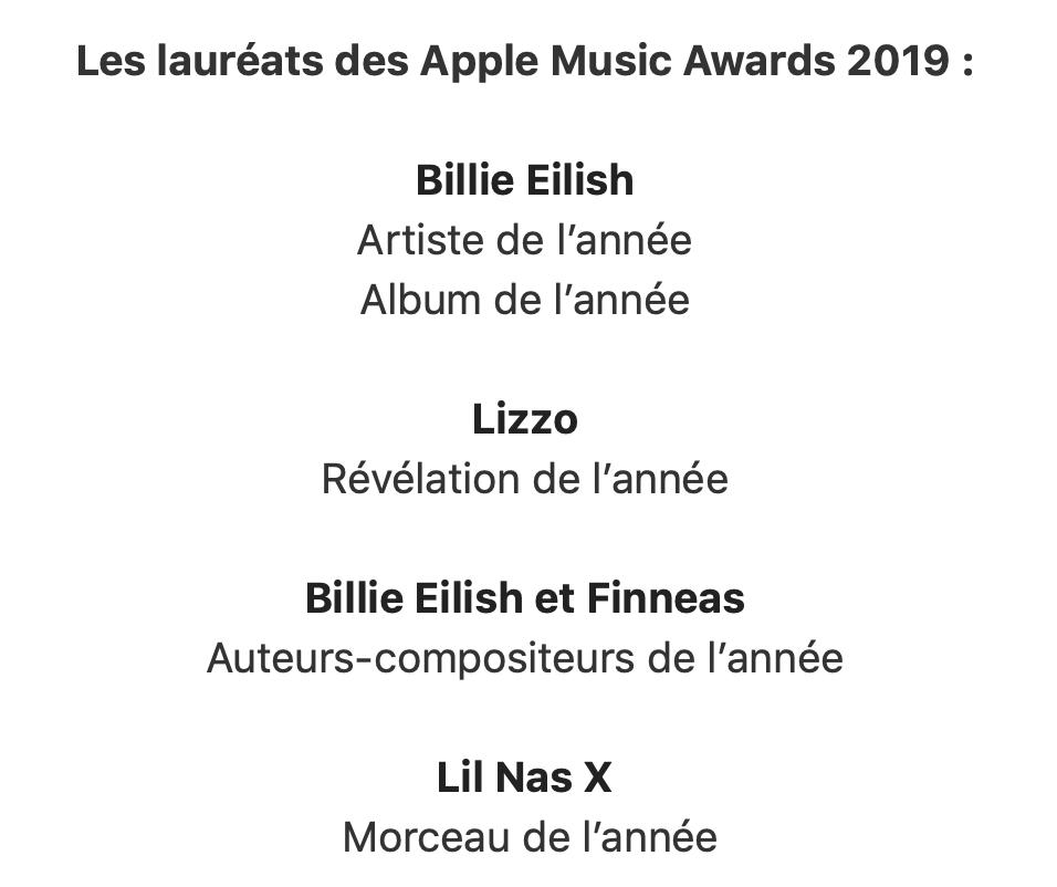 Apple Music Awards 2019