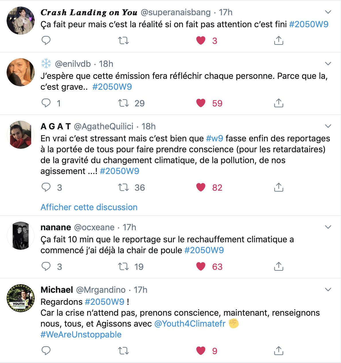 2050 - Alerte climat - W9 - documentaire - Stéphanie Renouvin - débat - twitter