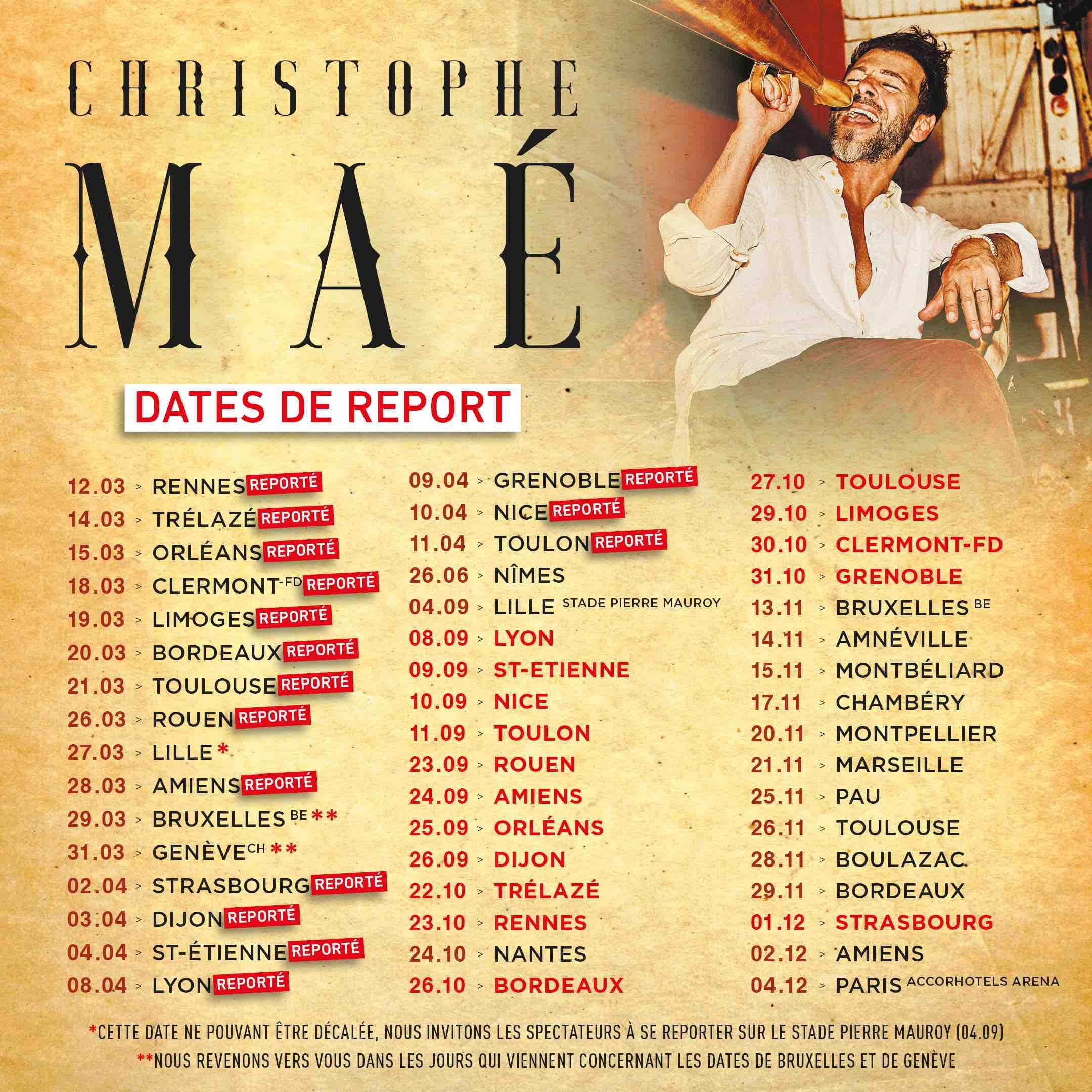 Christophe Maé - La vie d'artiste tour - reporté