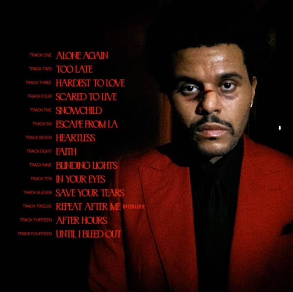 The Weeknd - After Hours - trackllist - pochette