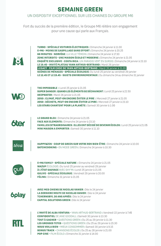 Semaine green - Groupe M6 - 2021 - programme -