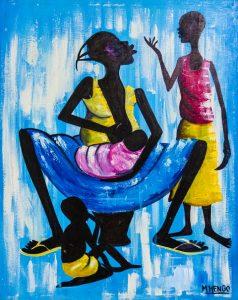 M'Hengo - Congo Brazza - Femme qui nourrit son enfant - Brazza Art Galerie - Syma News - Syma Mobile - Florence Yeremian