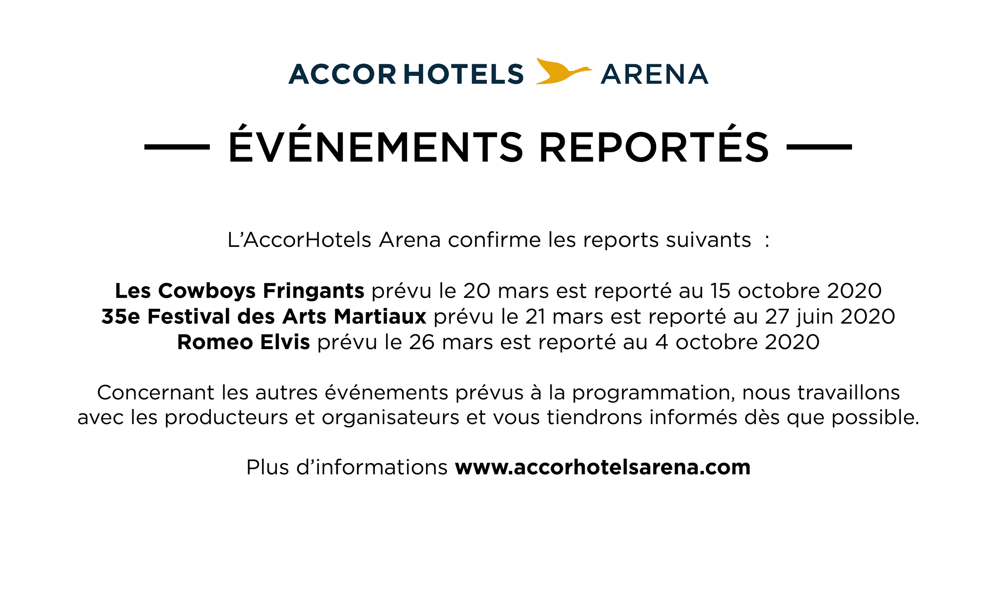 AccorHotels Arena - communiqué