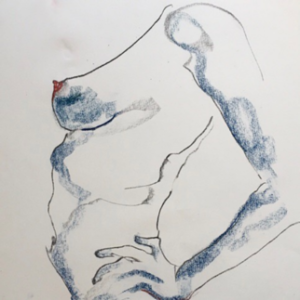 Dessin - fusain - pastel - emeline coquet - florence yeremian - nu - nude
