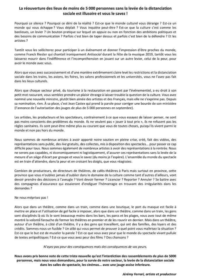 Jérémy Ferrari - lettre ouverte