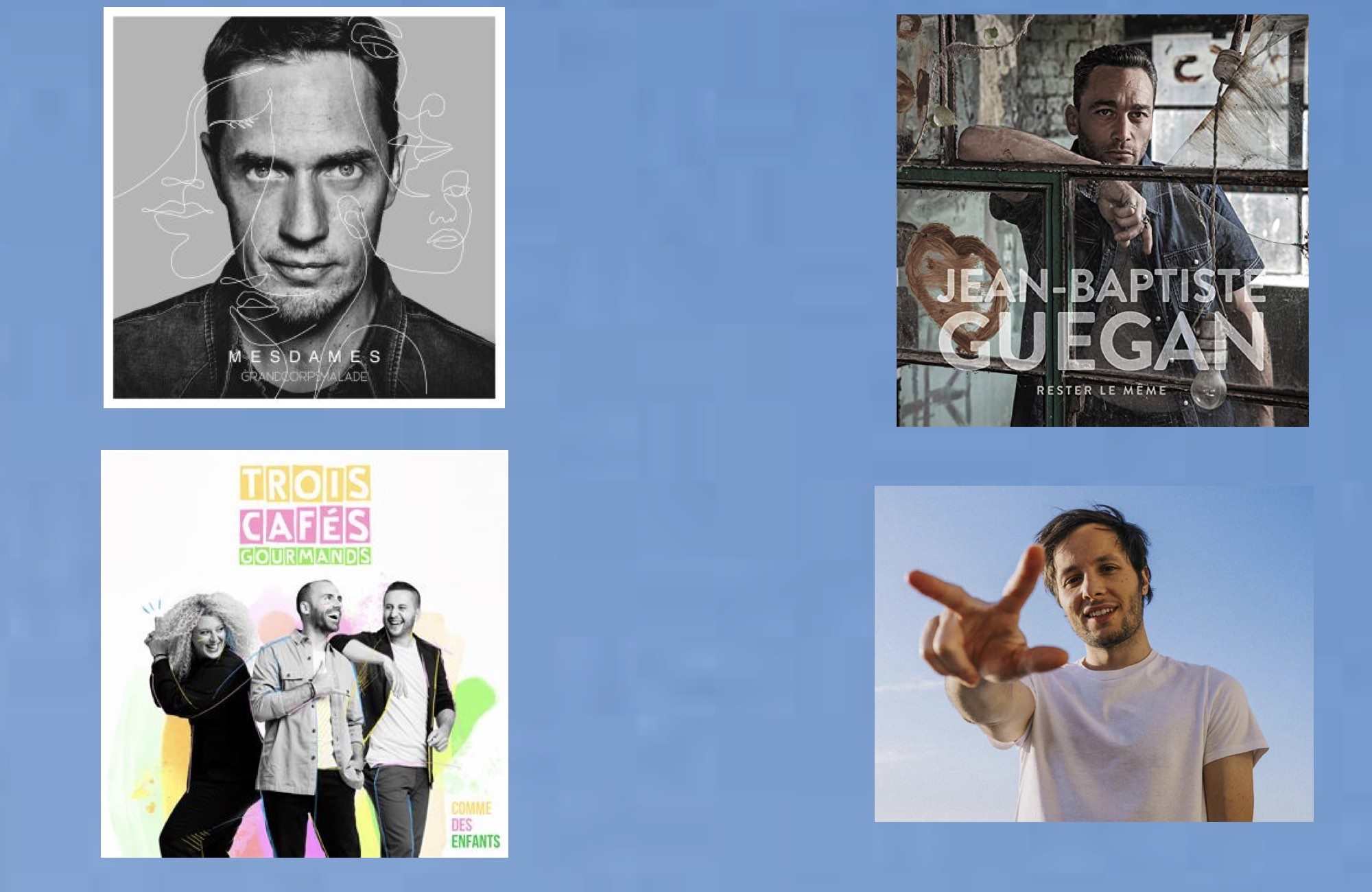 Sorties musicales - Grand corps malade - Jean Baptiste Guegan - Trois cafés gourmands - Vianney
